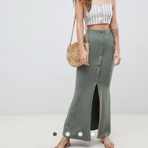 ASOS DESIGN maxi skirt with button front